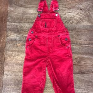 Polarn O. Pyret Bottoms - Red overalls.  12-18 mo.